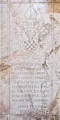 Inscriptions on marble, church of Santo Sepolcro, monastery of Astino, Longuelo, province of Bergamo, Lombardy, Italy, Europe