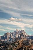 Cinque Torri with Croda da Lago in the background, Valparola Pass, Dolomites, Veneto, Italy, Europe