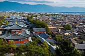 View old town and Wangulou Pagoda at Lijiang, Lijiang, Yunnan Province, China, Asia, Asian, East Asia, Far East