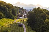 The iconic Wamberg Church, Wamberg, Garmisch Partenkirchen, Bayern, Germany