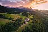 Aerial view of the iconic Wamberg village, near Garmisch Partenkirchen, Bayern Alps, Germany