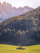 Funes Valley with San Giovanni ranui Church, Puez Odle Natural Park, South Tyrol, Italy