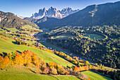 Santa Magdalena, Funes valley, Puez Odle Natural Park, South Tyrol, Italy