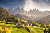 The village of Santa Magdalena with the Odle Group on the background, Funes Valley, Bolzano Province, Trentino Alto Adige, Italy