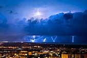 Lightning over the city of Sassari, Sardinia, Italy, Europe