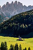 Autumn in the Italian Dolomites Alps, Funes Valley, Trentino Alto Adige, Italy