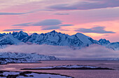 Mountainscape at sunset of the artic sea from Manitsoq, Greenland, Artic sea, Denmark