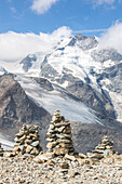 Overview of the Diavolezza and Pers glaciers and Piz Bernina, St,Moritz, canton of Graubünden, Engadine, Switzerland