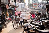 Street scene in Varanasi, Uttar Pradesh, India, Asia