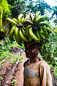 Man carrying a huge plantain on his head, volcanic lake Barombi, Kumba, southwest Cameroon, Africa