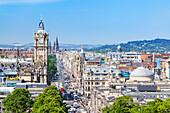 Busy traffic on Princes Street, Edinburgh city centre and skyline, Edinburgh, Midlothian, Scotland, United Kingdom, Europe