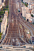 Intertwined railroad tracks in Paris, France