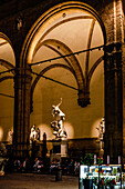 The Loggia dei Lanzi, also called the Loggia della Signoria on the piazza della Signoria in Florence, Italy, Toscany, Europe