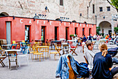 Students chatting in LE Murate Caffe Letterario, Piazza delle Murate, Florence, Italy, Toscany, Europe
