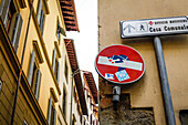 traffic sign brick, Florence, Italy, Toscany, Europe