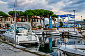 Canale Burlamacco and the Maritime Museum at the sunset in the port of Viareggio, Tuscany, italy