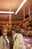 The famous Simoni butchers on Via Drapperie, Bologna, Emilia-Romagna, Italy, Europe