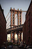 iconic view of Washington Bridge and Empire State Building, DUMBO, Brooklyn, NYC, New York City, United States of America, USA, North America