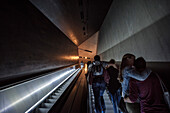 escalator in the 9/11 Memorial, museum, Manhattan, NYC, New York City, United States of America, USA, North America