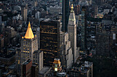 Clocktower and New York life building with golden rooftop, view from viewing platform of Empire State Building, Manhattan, NYC, New York City, United States of America, USA, North America
