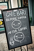 funny sign of Coffee Bar, Little Italy, Manhattan, NYC, New York City, United States of America, USA, North America