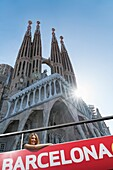 Tourist bus and Sagrada Familia, Barcelona, Spain