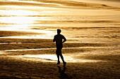 Running, Beach, Hendaye, Aquitaine, Pyrenees Atlantiques, France