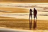 Walking, Beach, Hendaye, Aquitaine, Pyrenees Atlantiques, France
