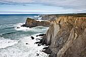 Sea cliffs on the Atlantic coast north of Sagres, Algarve, Portugal.