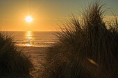 Sun sets over the Pacific Ocean off the coast of Oregon.