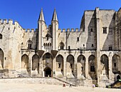 Gothic twin towered facade of the Palais Neuf, Palais des Papes, Palace Square, Avignon, Vaucluse, Provence-Alpes-Cote d'Azur, France.