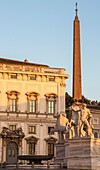 The Obelisk and Fountain of Caster and Pollux at Piazza del Quirinale, Quirinale Hill, Rome, Italy, Europe.
