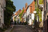 Iconic Mermaid Street in Rye, East Sussex, England.