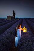 Woman with lantern at dawn in a lavender field. Plateau de Valensole, Alpes-de-Haute-Provence, Provence-Alpes-Côte d'Azur, France, Europe.