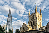 Southwark Cathedral and The Shard Skyscraper,  South Bank, London,  UK