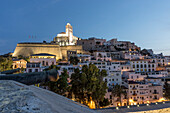 Spain, Baleares island, Ibiza, Dalt vila, sunset, overview from the fortress