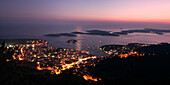 Panoramic view to Hvar and small islands from view point  at sunset , Croatia