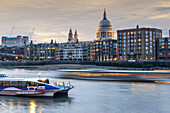 St Paul's Cathedral and City of London, river Thames,  London England UK