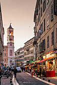 View  Nice, Rue Prefecture, Street Cafes , Bars,  Palais de Justice,  Alpes Maritimes, Provence, French Riviera, Mediterranean, France, Europe