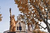 Golden Replica of the Statue of Liberty by Frédéric Bartholdi at Saint-Cyr-sur-Mer Var Département France
