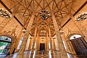 La Lonja de la Seda, UNESCO World heritage, silk exchange, columns,    Valencia, Spain