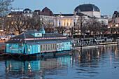 Alternative Theather Herzbaracke at Zurich Lake, background Opera House, Zurich, Switzerland