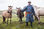 Mongol Horseman at Mandal Mountain, Mongolia, Central Asia, Asia