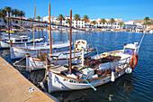 Village view with port, Fornells, Minorca, Balearic Islands, Spain, Mediterranean, Europe