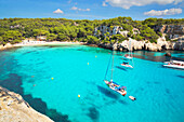 View of Cala Macarella and sailboats, Menorca, Balearic Islands, Spain, Mediterranean, Europe