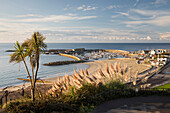 View over The Cobb and beach from Langmoor and Lister gardens, Lyme Regis, Dorset, England, United Kingdom, Europe