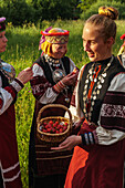 Seto girl offers wild strawberries to friends, Feast Day, Uusvada, Setomaa, SE Estonia, Europe