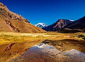 Aconcagua Mountain reflecting in the Espejo Lagoon, Aconcagua Provincial Park, Central Andes, Mendoza Province, Argentina, South America