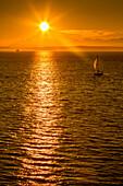 Sailing boat and sunset over Elliott Bay with Bainbridge Island visible on the horizon viewed from Bell Harbour Marina, Seattle, Washington State, United States of America, North America