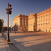 Royal Palace (Palacio Real) at sunrise, Madrid, Spain, Europe